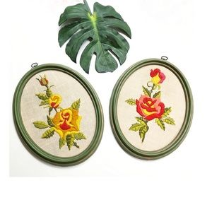 Vintage 70s floral embroidered wall art set